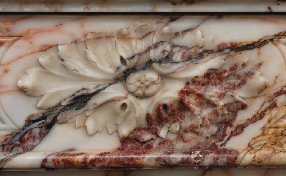 Antique Louis XVI style mantel in Orange veined marble in Skyros marble-1