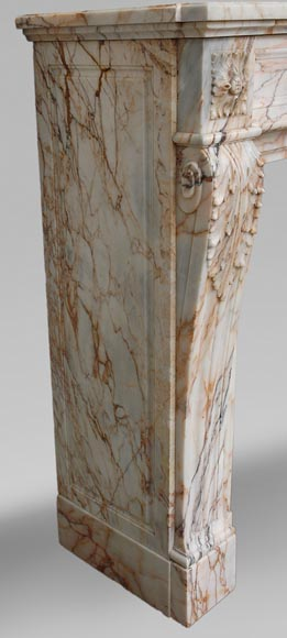 Antique Louis XVI style mantel in Orange veined marble in Skyros marble-2