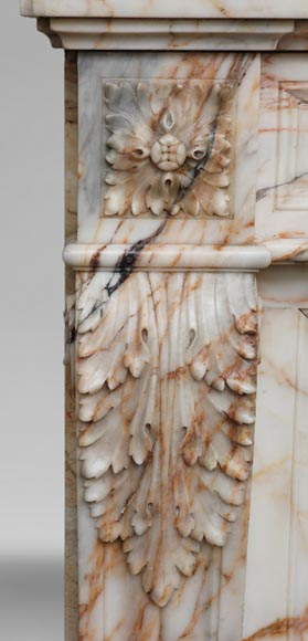 Antique Louis XVI style mantel in Orange veined marble in Skyros marble-3