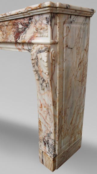 Antique Louis XVI style mantel in Orange veined marble in Skyros marble-4