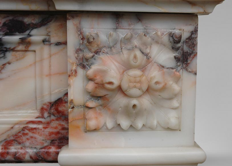 Antique Louis XVI style mantel in Orange veined marble in Skyros marble-5