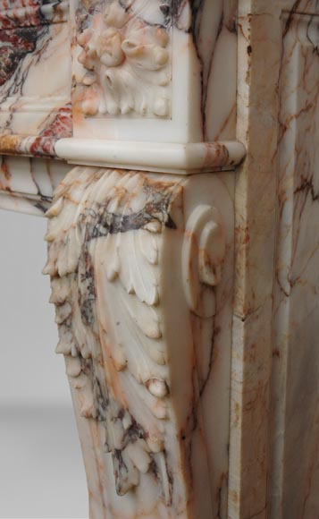 Antique Louis XVI style mantel in Orange veined marble in Skyros marble-6