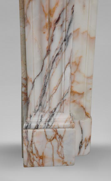 Antique Louis XVI style mantel in Orange veined marble in Skyros marble-7