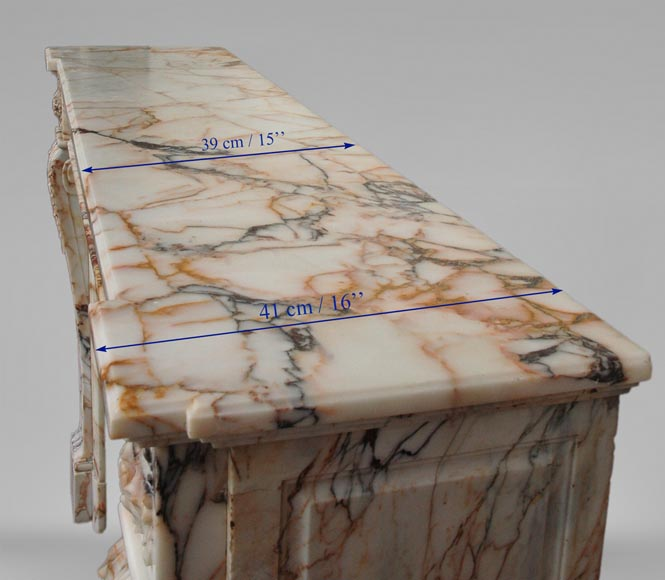 Antique Louis XVI style mantel in Orange veined marble in Skyros marble-9
