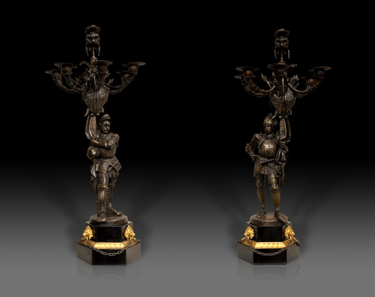 Jean-François GECHTER (1796-1844) - Pair of candlesticks with warriors-0