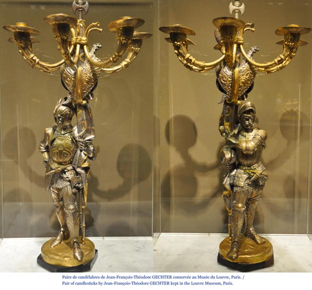 Jean-François GECHTER (1796-1844) - Pair of candlesticks with warriors-6