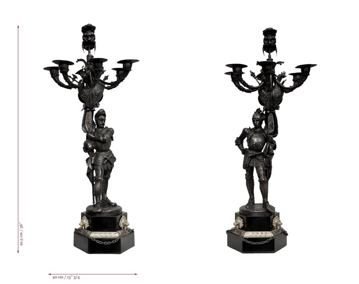 Jean-François GECHTER (1796-1844) - Pair of candlesticks with warriors-7