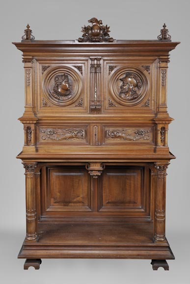 Neo-Renaissance style carved walnut credenza with profiles of costumed characters-0