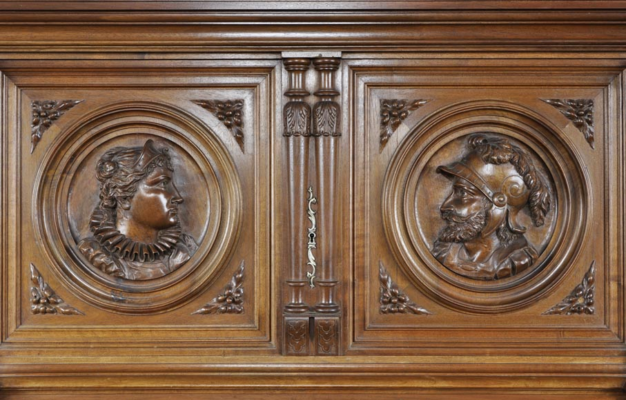 Neo-Renaissance style carved walnut credenza with profiles of costumed characters-2