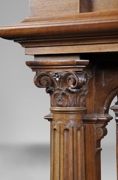 Neo-Renaissance style carved walnut credenza with profiles of costumed characters-5