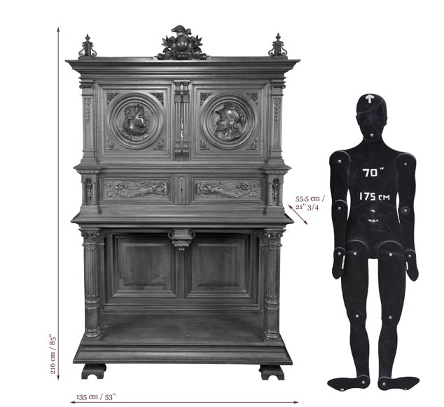 Neo-Renaissance style carved walnut credenza with profiles of costumed characters-6