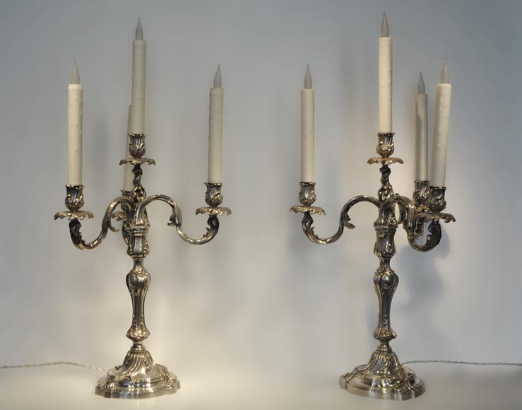 Exceptional pair of Louis XV Style Silver Candlesticks by BOIN TABURET Manufacture-0