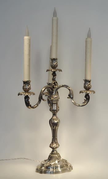 Exceptional pair of Louis XV Style Silver Candlesticks by BOIN TABURET Manufacture-1