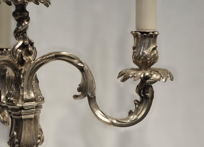 Exceptional pair of Louis XV Style Silver Candlesticks by BOIN TABURET Manufacture-2