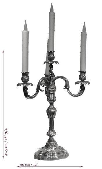 Exceptional pair of Louis XV Style Silver Candlesticks by BOIN TABURET Manufacture-6