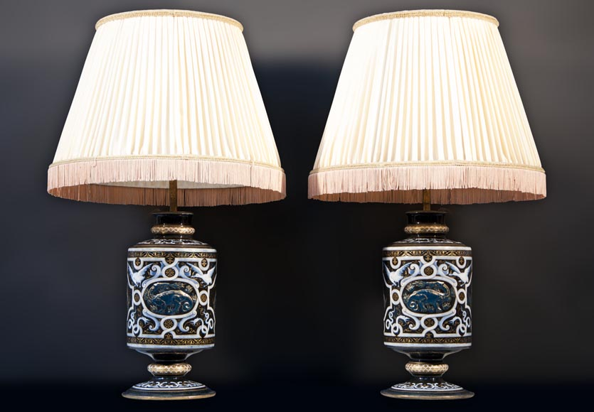 Edouard DAMOUSE - Pair of Neo-Renaissance style lamps dated of 1885-0