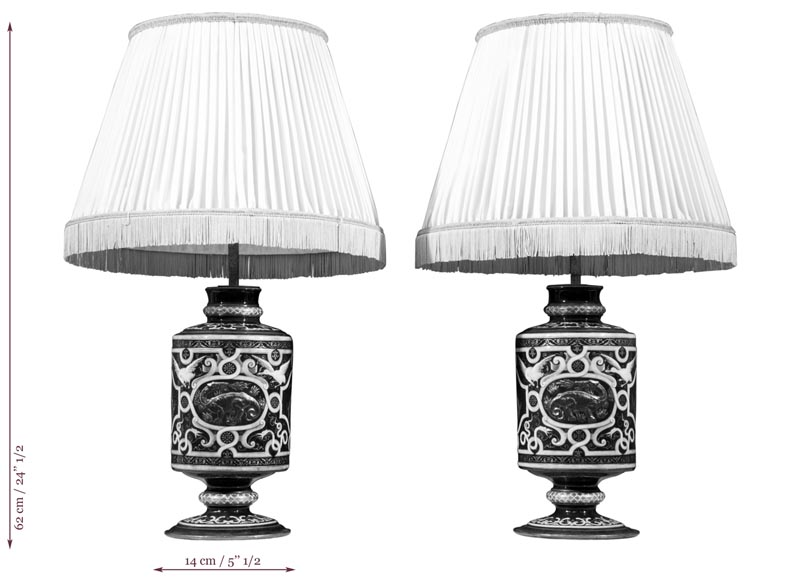 Edouard DAMOUSE - Pair of Neo-Renaissance style lamps dated of 1885-7