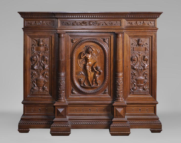 Egisto GAJANI - Very beautiful Neo-Renaissance style carved walnut wood piece of furniture dated from 1876-0