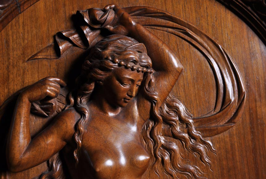 Egisto GAJANI - Very beautiful Neo-Renaissance style carved walnut wood piece of furniture dated from 1876-3