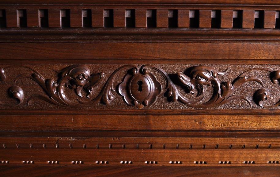 Egisto GAJANI - Very beautiful Neo-Renaissance style carved walnut wood piece of furniture dated from 1876-5