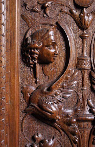 Egisto GAJANI - Very beautiful Neo-Renaissance style carved walnut wood piece of furniture dated from 1876-6