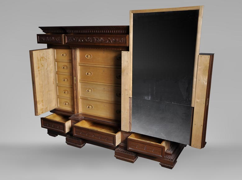 Egisto GAJANI - Very beautiful Neo-Renaissance style carved walnut wood piece of furniture dated from 1876-11