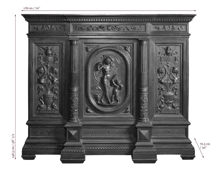 Egisto GAJANI - Very beautiful Neo-Renaissance style carved walnut wood piece of furniture dated from 1876-13