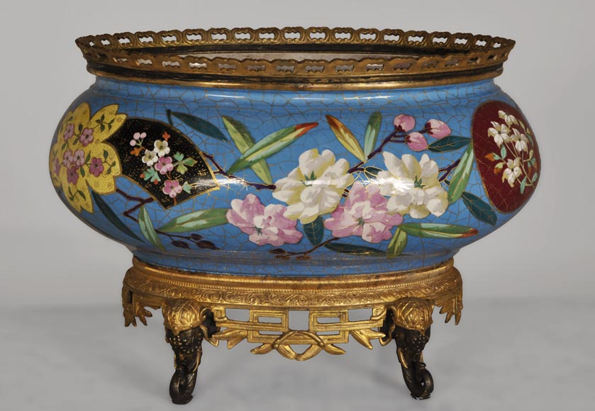 CREIL-MONTEREAU Manufacture - Beautiful antique planter with faux cloisonné flowers decor and base made out of gilded bronze and patinated bronze with elephant heads decor-0