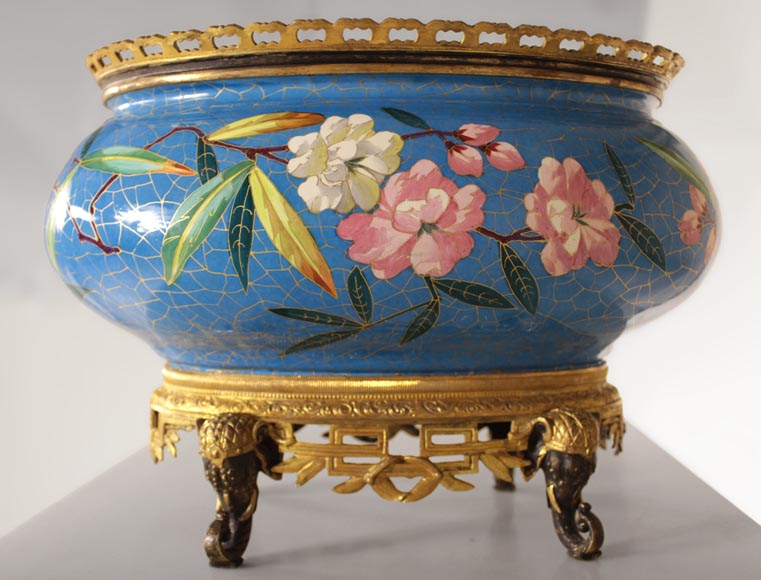 CREIL-MONTEREAU Manufacture - Beautiful antique planter with faux cloisonné flowers decor and base made out of gilded bronze and patinated bronze with elephant heads decor-3