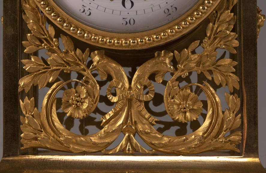 DENIERE Manufacture - Beautiful antique Louis XVI style clock made out of Blue Turquin marble and gilded bronze ornaments-2