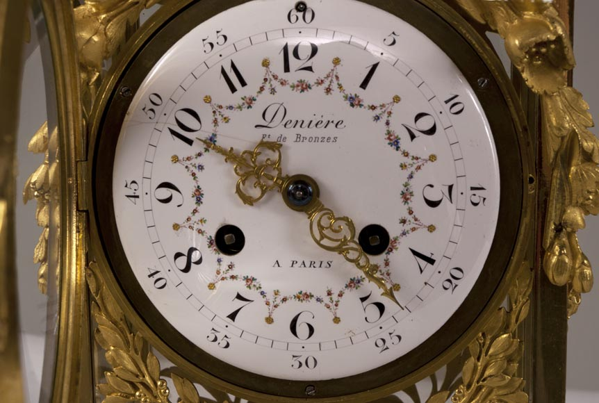 DENIERE Manufacture - Beautiful antique Louis XVI style clock made out of Blue Turquin marble and gilded bronze ornaments-6