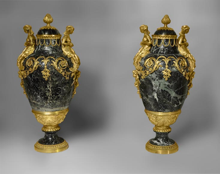A pair of giltbronze mounted Sea Green marble covered vases with Egyptian women-0