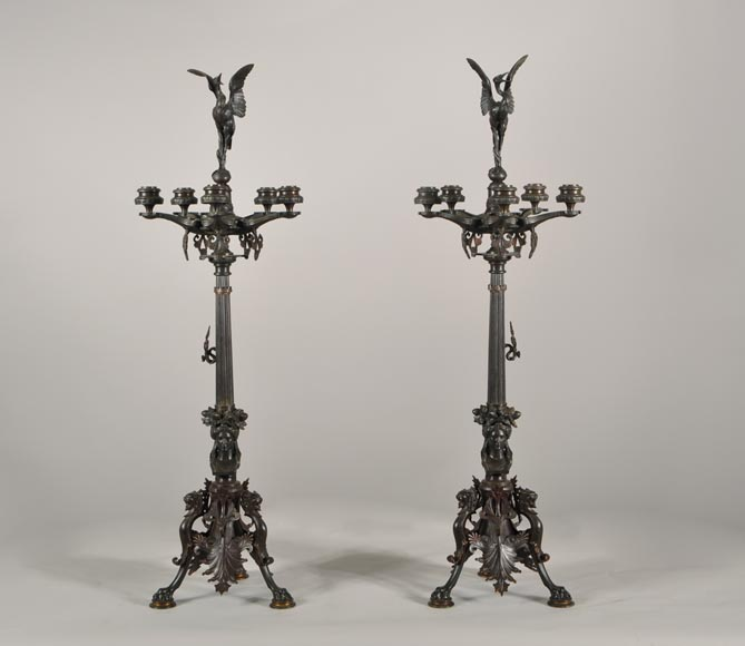 Antoine-Louis BARYE (1795-1875) (after), Pair of Candelabras with storks-0