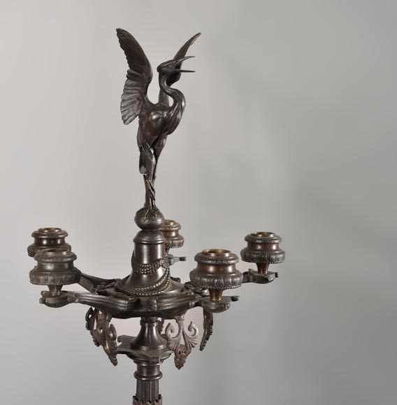 Antoine-Louis BARYE (1795-1875) (after), Pair of Candelabras with storks-2