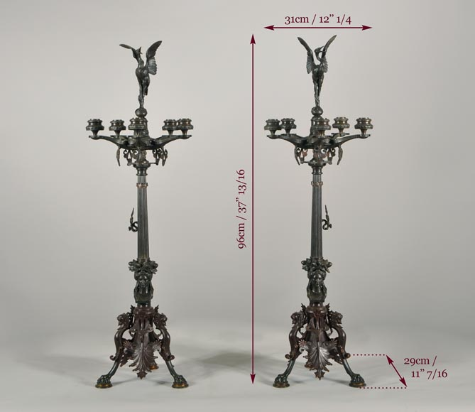Antoine-Louis BARYE (1795-1875) (after), Pair of Candelabras with storks-10