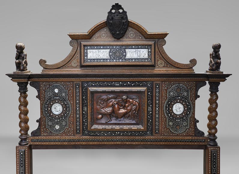 Ferdinando POGLIANI (att. to) - Rare Neo-Renaissance style bed made out of carved walnut and ebony veneer with ivory inlays-1