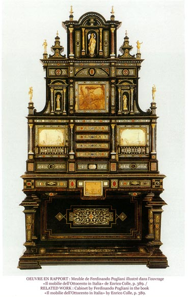 Ferdinando POGLIANI (att. to) - Rare Neo-Renaissance style bed made out of carved walnut and ebony veneer with ivory inlays-6