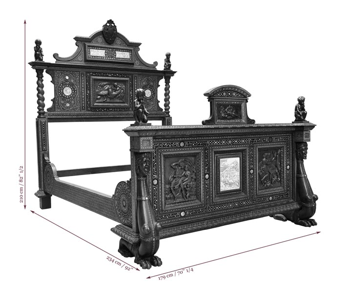 Ferdinando POGLIANI (att. to) - Rare Neo-Renaissance style bed made out of carved walnut and ebony veneer with ivory inlays-9