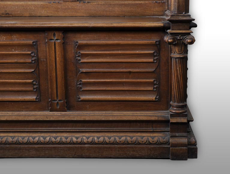 Gothic Revival Bench in walnut-4