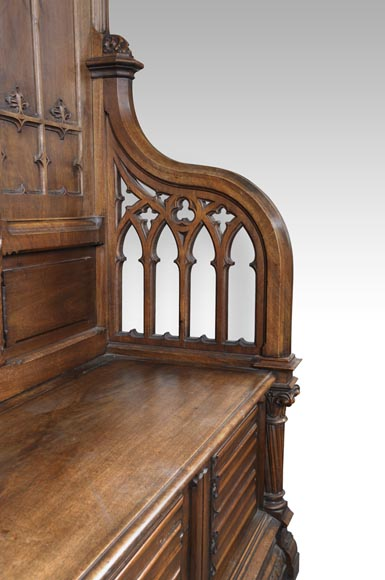 Gothic Revival Bench in walnut-5
