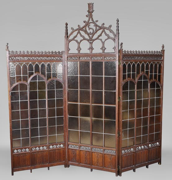 Antique Neo-Gothic style oak wood screen with gargoyles decor-0