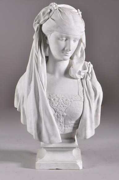 Albert-Ernest Carrier de Belleuse called « CARRIER-BELLEUSE » (1824 - 1887) (after), Bust of a young Lady, Bisque-0
