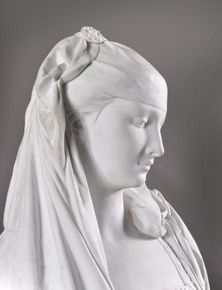 Albert-Ernest Carrier de Belleuse called « CARRIER-BELLEUSE » (1824 - 1887) (after), Bust of a young Lady, Bisque-1