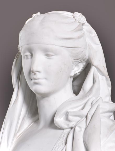 Albert-Ernest Carrier de Belleuse called « CARRIER-BELLEUSE » (1824 - 1887) (after), Bust of a young Lady, Bisque-2
