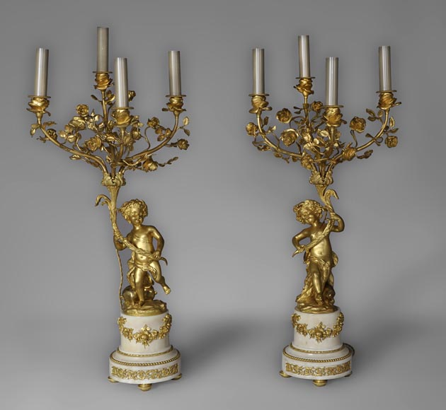 Beautiful antique pair of candelabras made out of Statuary Carrara marble and gilded bronze with putti and roses decor-0