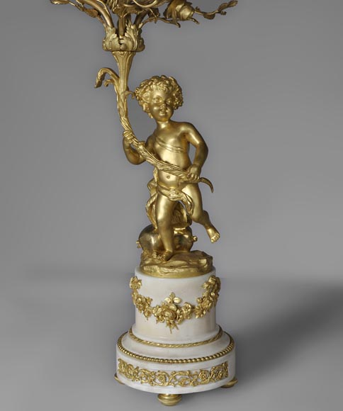Beautiful antique pair of candelabras made out of Statuary Carrara marble and gilded bronze with putti and roses decor-1