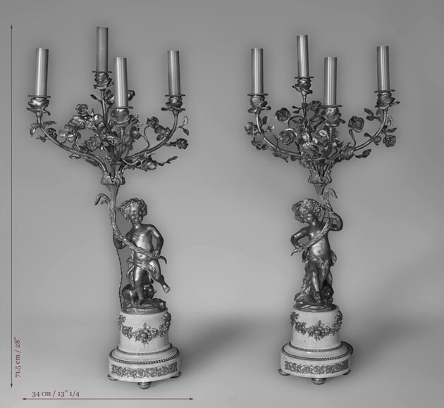 Beautiful antique pair of candelabras made out of Statuary Carrara marble and gilded bronze with putti and roses decor-12
