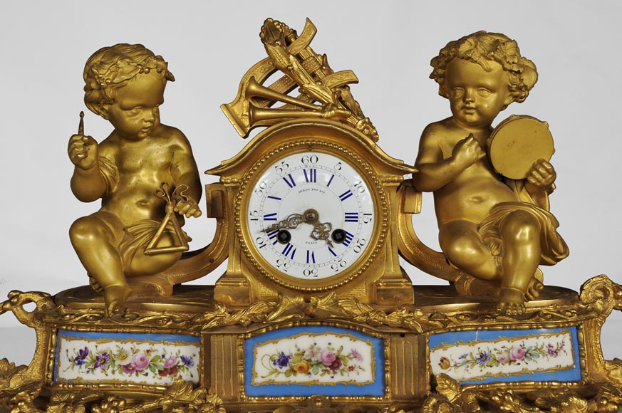 MIROY Frères - Beautiful antique clock with musicians putti -1