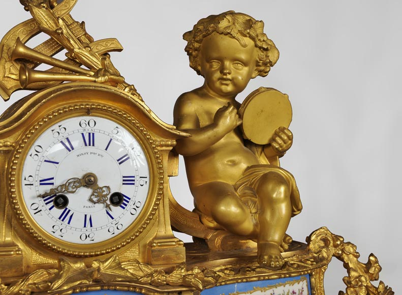 MIROY Frères - Beautiful antique clock with musicians putti -2