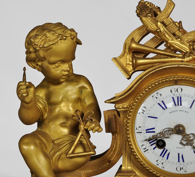 MIROY Frères - Beautiful antique clock with musicians putti -3
